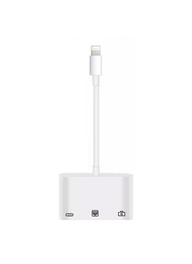 Microsonic Microsonic Lightning to Ethernet & USB Adapter Kablo, iPhone, iPad USB, Ethernet Dönüştürücü Adaptör Beyaz Beyaz
